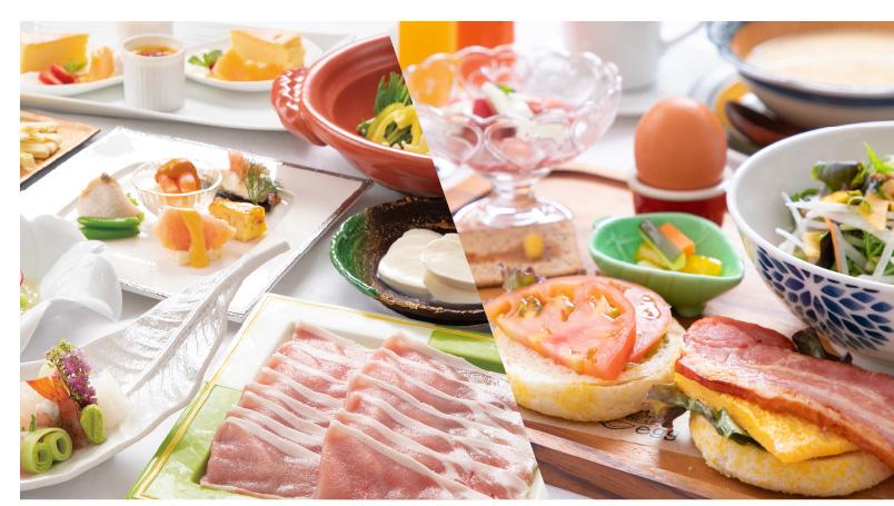 晩ごはんは地元食材を使用した彩り豊かなお料理